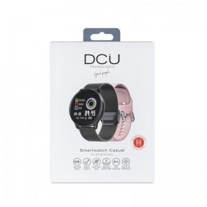 Smartwatch Casual 2 correas metal negro / silicona rosa